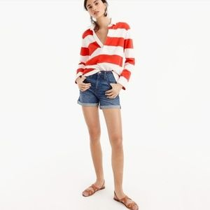 JCrew red and white striped rugby polo shirt
